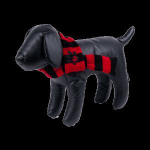 bufanda para perros a rayas rojas y negras