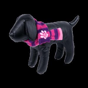 bufanda para perros a rayas violetas y rosas