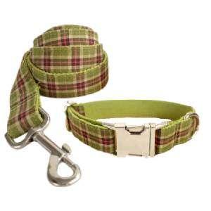 correa y collar para perro personalizado cuadros pistacho