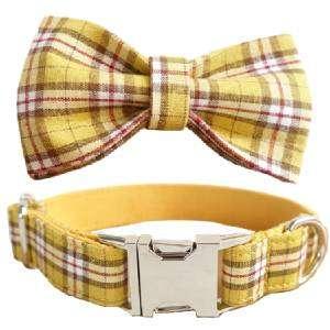 collar perro y pajarita cuadros limon