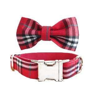 collar perro y pajarita cuadros escoces